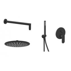"""Ponsi douche de pluie ronde encastrée Ø25cm avec douchette à main style """"micro"""" et mitigeur 2 voies Versilia - noir mat"""