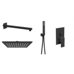 Ponsi douche de pluie carrée encastrée 25cm avec douchette à main rectangulaire et mitigeur 2 voies Italia R - noir mat