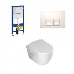 Geberit Duofix pack WC suspendu Banio design avec abattant soft-close et plaque de commande blanche