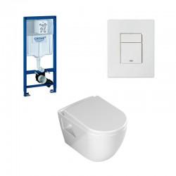 Grohe Rapid SL pack WC suspendu Banio design avec abattant soft-close et plaque de commande blanche