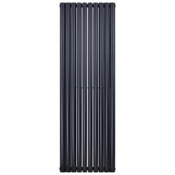 Banio ovaal verticaal designradiator double - 180x59cm 2050w mat zwart