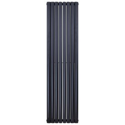 Banio radiateur ovale design vertical double - 180x35,4cm 1230w noir mat