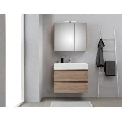 Pelipal meuble de salle de bain avec armoire miroir Bali80 - chêne terra