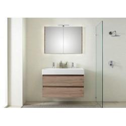 Pelipal meuble de salle de bain avec armoire miroir Bali101 - chêne terra