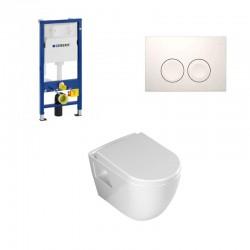 Geberit Duofix pack WC suspendu Banio design avec fonction bidet abattant soft-close et plaque de commande blanche