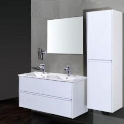 Banio meuble de salle de bain avec miroir Hayat 120cm - blanc