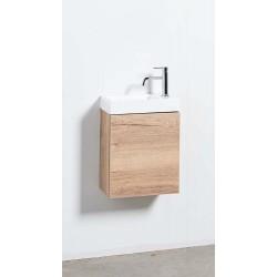 Banio meuble de toilette avec lavabo brillant Domino - chêne