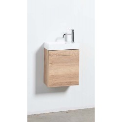 Banio meuble de toilette avec lavabo brillant Tomino - chêne