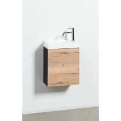 Banio meuble de toilette avec lavabo brillant Dora - noir/chêne
