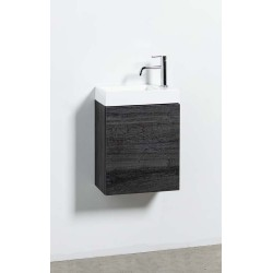 Banio meuble de toilette avec lavabo brillant Dotan - chêne foncé