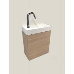 Banio meuble de toilette avec lavabo brillant Dora - chêne clair