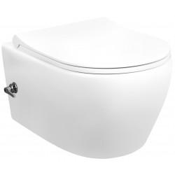 Banio WC suspendu design rimless avec fonction bidet et robinet intégré eau chaude/froide