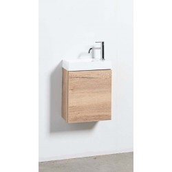 Banio meuble de toilette avec lavabo blanc mat Tomino - chêne