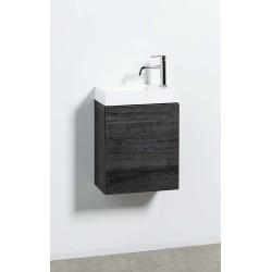 Banio meuble de toilette avec lavabo blanc mat Dora - chêne foncé