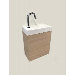 Banio meuble de toilette avec lavabo blanc mat Dora - chêne clair