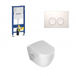 Geberit Duofix pack WC suspendu Banio design avec fonction bidet abattant soft-close et plaque de commande blanche avec robinet