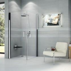 Novellini  giada n 2g 66 dimension extensible de  66-69 cm verre trempe transparent  silver