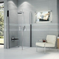 Novellini  Giada 2G 2 portes ouvrantes 72 dimension extensible de  72-75 cm verre trempe transparent  silver