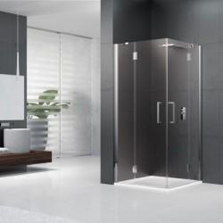 Novellini  louvre a 75 dimension extensible de   71,5-74,5 cm vitrage gris profilé chrome