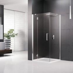 Novellini  louvre panneau fixe 100 dimension extensible de  96.5-99.5 cm vitrage gris profilé chrome