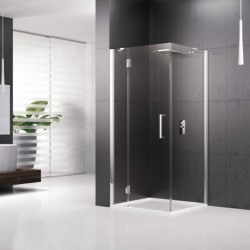 Novellini  louvre pann.fixe 120 dimension extensible de  116.5-119.5 cm verre trempe transparent  silver