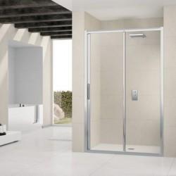 Novellini  lunes 2p 144 pan. coulis. dimension extensible de  144-150 cm verre trempe transparent  profilé blanc