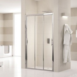 Novellini  lunes p 114 a 3 pan. coulis. dimension extensible de  114-120 verre trempe transparent  profilé blanc