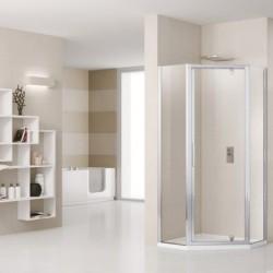 Novellini  lunes pentagono g 140 dimension extensible de  88,5-138,5 cm verre trempe transparent  profilé blanc