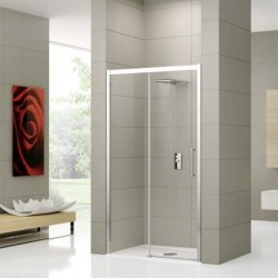 Novellini  rose 2p 156 droit dimension extensible de  156-162 cm verre trempe transparent  profilé blanc