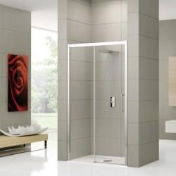 Novellini  rose 2p 96 droit dimension extensible de  96-102 cm verre trempe transparent  profilé blanc