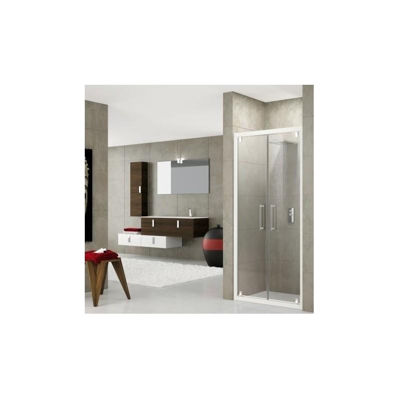 Novellini rose b 90 porte battante dimension extensible de 90 96 cm vitrage satin profil chrome - Porte de douche extensible ...