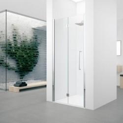 Novellini  young 2 1bs 57 droit dimension extensible de  57-61cm verre trempe transparent  profilé blanc/profilé chrome