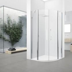 Novellini  young 2 r 80 dimension extensible de  77,5-79,5cm verre trempe transparent  profilé blanc/profilé chrome