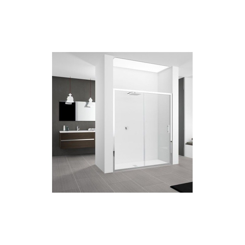 Novellini zephyros 2p 136 extensible 136 142 cm verre trempe transparent profil blanc - Porte de douche extensible ...