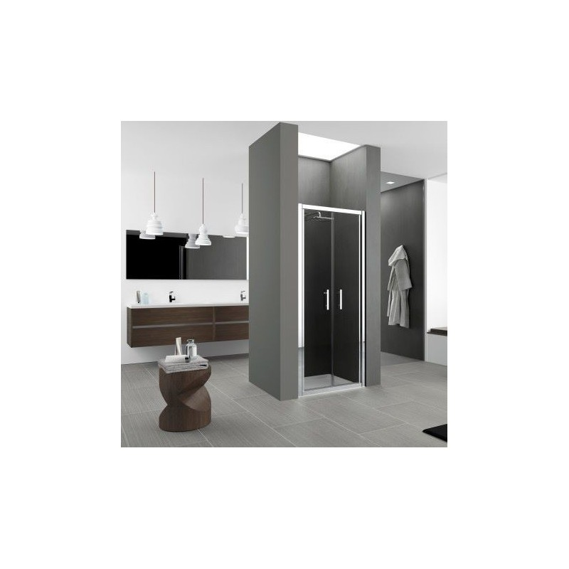 novellini zephyros b 96 porte battante dimension extensible de 96 102 vitrage gris noir. Black Bedroom Furniture Sets. Home Design Ideas