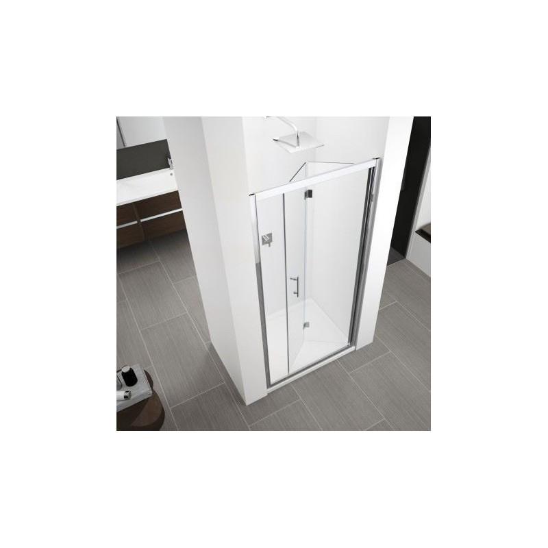 Novellini zephyros s 96 porte pliante dimension extensible de 96 102cm vitrage gris noir - Porte de douche extensible ...