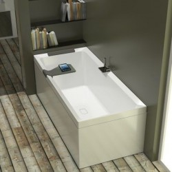 Novellini  diva 180x100 avec cadre avec robinetterie sur la baignoire  blanc  1 tablier finition grain